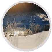 Round Beach Towel featuring the photograph Sun On Snow by Mim White