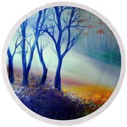 Round Beach Towel featuring the painting Sun Ray In Blue  by Lilia D