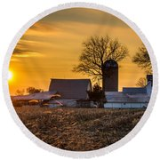 Sun Rise Over The Farm Round Beach Towel