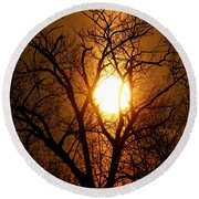 Sun Rise Sun Pillar Silhouette Round Beach Towel by Kenny Glotfelty