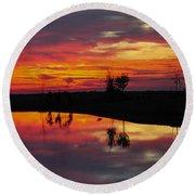 Sun Set At Cowen Creek Round Beach Towel