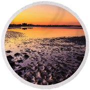 Sun Sets On Bramble Bay Round Beach Towel