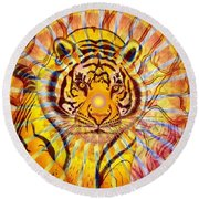 Round Beach Towel featuring the painting Sun Tiger by Joseph J Stevens