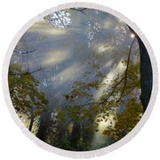 Round Beach Towel featuring the photograph Sunbeam Morning by Dianne Cowen