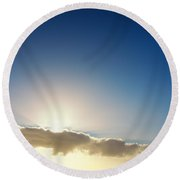 Sunbeams Behind Clouds Round Beach Towel