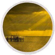 Sunbeams Of Hope Round Beach Towel