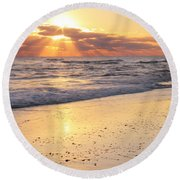 Round Beach Towel featuring the photograph Sunbeams On The Beach by Roupen  Baker