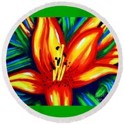 Round Beach Towel featuring the painting Sunburst by Jackie Carpenter