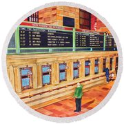 Round Beach Towel featuring the painting Sunday Am At Grand Central by Deborah Boyd