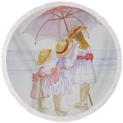 Sunday Best At The Beach Round Beach Towel