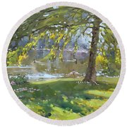 Sunday By The Pond In Port Credit Mississauga Round Beach Towel