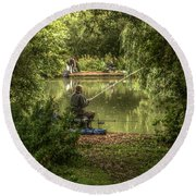 Sunday Fishing At The Lake Round Beach Towel