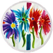 Round Beach Towel featuring the painting Sunday Morning 2 by Frank Bright