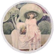 Round Beach Towel featuring the painting Sunday Morning by Marina Gnetetsky