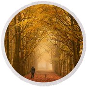 Sunday Morning Walk With The Dog In A Foggy Forest In Autumn Round Beach Towel by IPics Photography