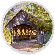 Sunday River Covered Bridge Round Beach Towel