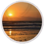 Round Beach Towel featuring the photograph Sundays Golden Sunrise by DigiArt Diaries by Vicky B Fuller