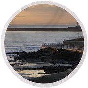 Sunderland Sunrise Round Beach Towel by Julia Wilcox