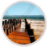 Round Beach Towel featuring the photograph Sundown At The Breakwater by Nadalyn Larsen