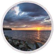 Sundown Bay Round Beach Towel by Bill Pevlor