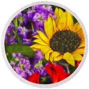 Sunflower - Watercolor Art Round Beach Towel