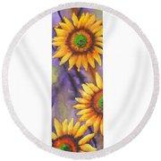 Sunflower Abstract  Round Beach Towel by Chrisann Ellis