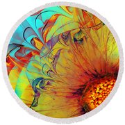Sunflower Abstract Round Beach Towel by Klara Acel