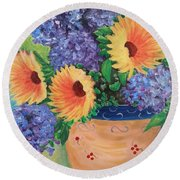 Round Beach Towel featuring the painting Sunflower by Amelie Simmons