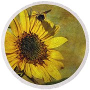 Sunflower And Bumble Bee Round Beach Towel