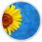 Sunflower Art Round Beach Towel by Ann Powell