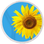 Sunflower Blue Sky Round Beach Towel by Edward Fielding