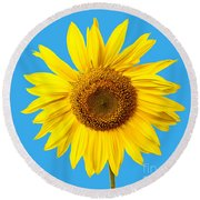 Sunflower Blue Sky Round Beach Towel
