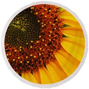 Joy Of The Sunflower Round Beach Towel