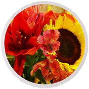 Sunflower Bouquet Round Beach Towel by Sandi OReilly