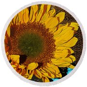 Sunflower Burlap And Turquoise Round Beach Towel