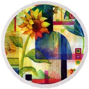 Sunflower Collage Round Beach Towel