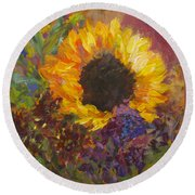 Sunflower Dance Original Painting Impressionist Round Beach Towel