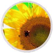 Round Beach Towel featuring the digital art Sunflower by Daniel Janda