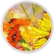 Round Beach Towel featuring the painting Sunflower Detail by Ana Maria Edulescu
