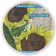 Sunflower Dictionary 2 Round Beach Towel