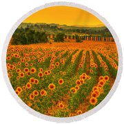 Sunflower Dream Round Beach Towel