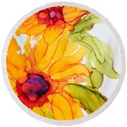 Sunflower Duo Round Beach Towel by Vicki  Housel