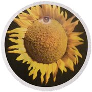 Round Beach Towel featuring the mixed media Sunflower Eye by Douglas Fromm