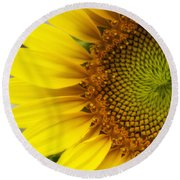 Sunflower Face Round Beach Towel