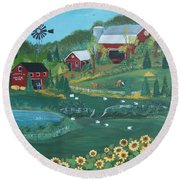 Round Beach Towel featuring the painting Sunflower Farm by Virginia Coyle