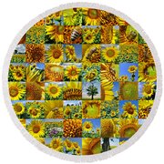 Sunflower Field Collage In Yellow Round Beach Towel
