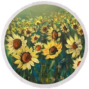 Sunflower Field Round Beach Towel by Dorothy Maier