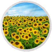 Sunflower Field Round Beach Towel by Mike Ste Marie