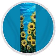 Sunflower Fun Round Beach Towel