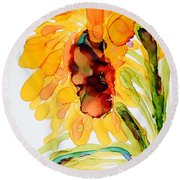 Sunflower Left Face Round Beach Towel